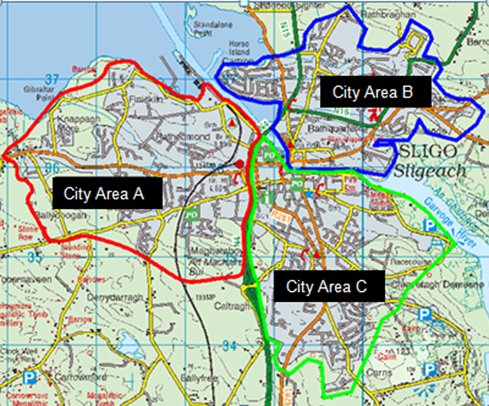 Brown Bin Pilot Project Map of Areas A, B, and C